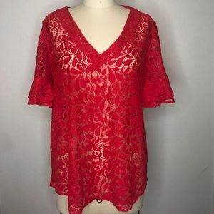 Lace red blouse